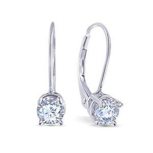 14K White Gold Round Diamond Earring
